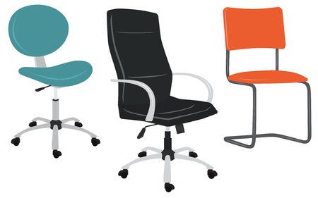 Set of office chairs. Vector illustration isolated on white Vettoriali