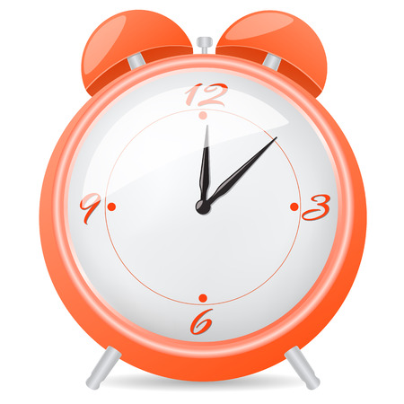 Orange alarm clock. Vector illustration isolated on white
