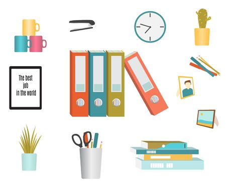 Set of office supplies. Flat design. Vector illustration isolated on white Ilustrace