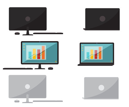 Set of office computer and laptop. Flat design. Vector illustration isolated on white Ilustrace
