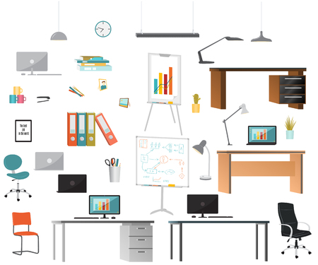 Office elements. Flat design. Vector illustration isolated on white