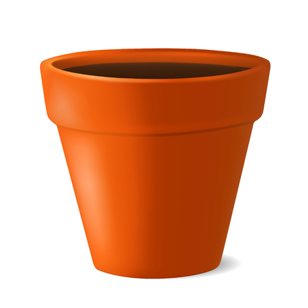 Realistic flowerpot with ground. Vector illustration isolated on white Ilustrace