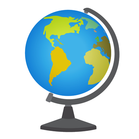 School desktop globe. Vector illustration isolated on white