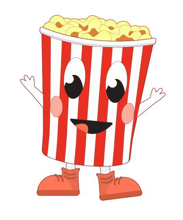 Happy cartoon popcorn bucket. Vector illustration isolated on white