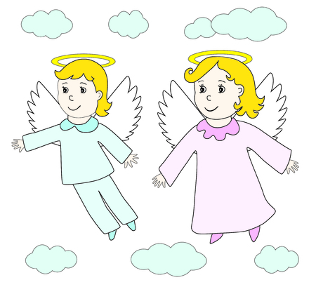 Lovely angels boy and girl fly in the sky clouds. Child hand drawing retro style. Vector icon, prints, textile decoration.