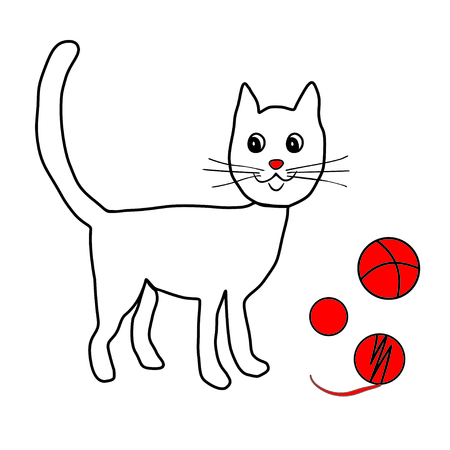 Lovely white kitty play with red balls and clew. Child hand drawing retro style. Vector icon, prints, textile decoration.