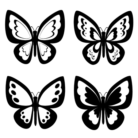 Black and white butterflies silhouettes. Vector backgrounds, icon, prints, textile decoration Ilustrace