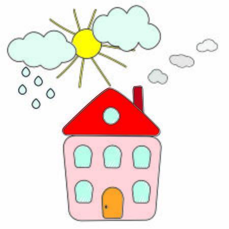 House with smoke chimney, sun, clouds, rain.