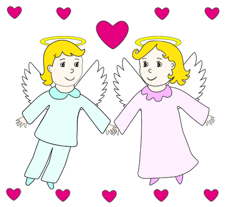 Lovely angels boy and girl fly in the hearts. Child hand drawing retro style. Vector icon, prints, textile decoration, valentine card.