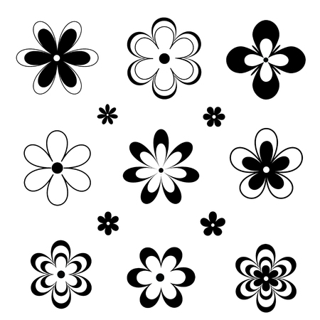 Black and white flowers silhouettes. Vector backgrounds, icon, prints, textile decoration tattoo
