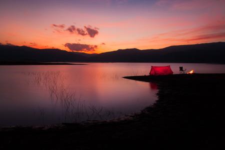 Camping Sunset 스톡 콘텐츠