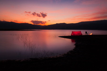 trave: Camping Sunset Stock Photo