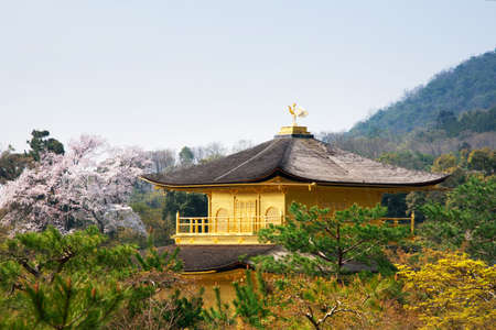 rokuonji: Temple of the Golden Pavilion on Kyoto, Japan. Stock Photo