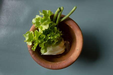 ingradient: Thai food Salad in mortar, top view Stock Photo