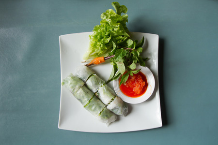 vietnamese food: Vietnamese food Fresh spring rolls, Top view