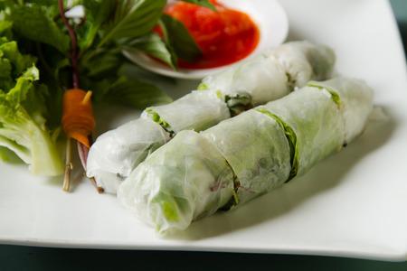 vietnamese food: Vietnamese food Fresh spring rolls, Side view