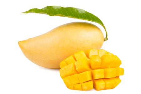 Mango with leaf and slice isolated.