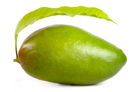 mongo: Green mongo with leaf isolated white background Stock Photo