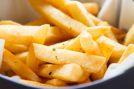 cal: close up French fries or potato fries Stock Photo