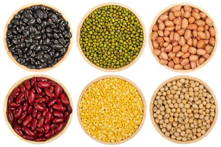 Mix various leguminous and lentils Top view isolated