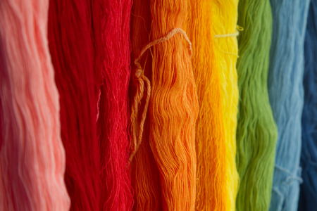 bright color: Colorful of Silk Threads Stock Photo