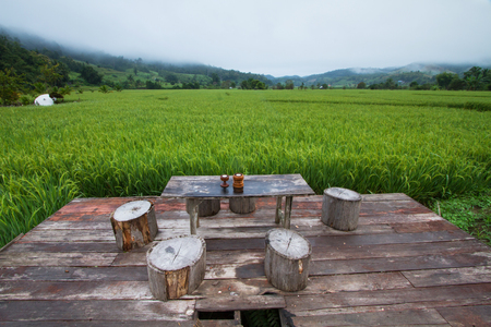 Thailand rice fields and mini capping table at Mae Hong Son, Thailand Stock Photo
