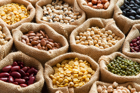 다채로운 콩과 식물, 린넨 자루에 콩 씨앗 스톡 콘텐츠