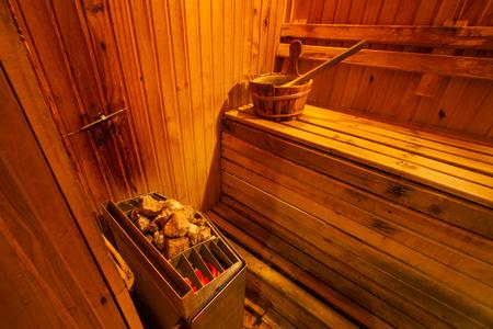 Sauna room interior with accessories