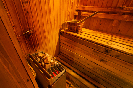 Sauna room interior with accessories