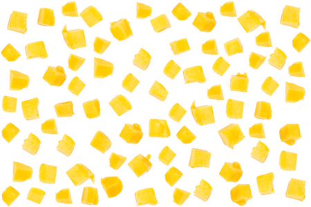 Mango cube slice isolated for abstract background