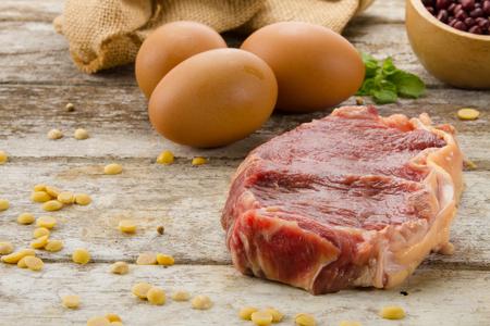 Beef steak preparing at kitchen table