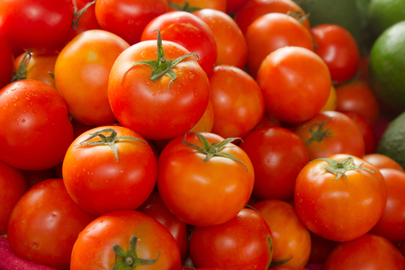 Stack of Fresh tomatoes at rural grocery shop