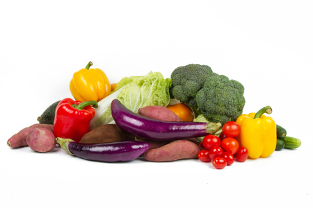 Mixed of Vegetables and Fruits stack isolated on white background.