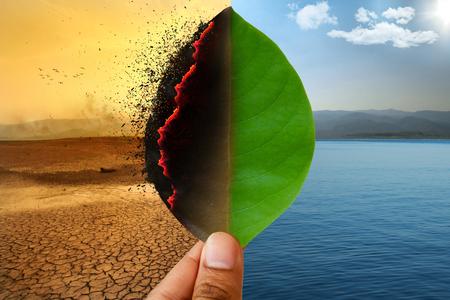 Konzept für Klimawandel und globale Erwärmung. Brennendes Blatt im Land der Dürre der rissigen Erdmetapher und des grünen Blattes mit Fluss und schöner Metapher des klaren Himmels Fülle der Natur.