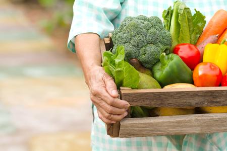 Senior vrouw dragen vers product van zelfgemaakte groente klaar voor levering aan verse markt. Concept vers product, groente verbouwen, biologisch en biologisch, tuinieren Stockfoto