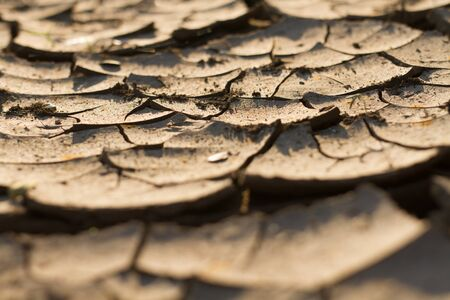 Land on river dry and cracked casue of no rain fall on season. Climate change and water crisis