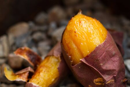 Diet and Healthy food of Delicious Baked sweet potato, Famous snack at Japan on Autumn and Winter season.