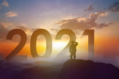 Shadow of people with 2021, new year and trend or business success concept. Zdjęcie Seryjne