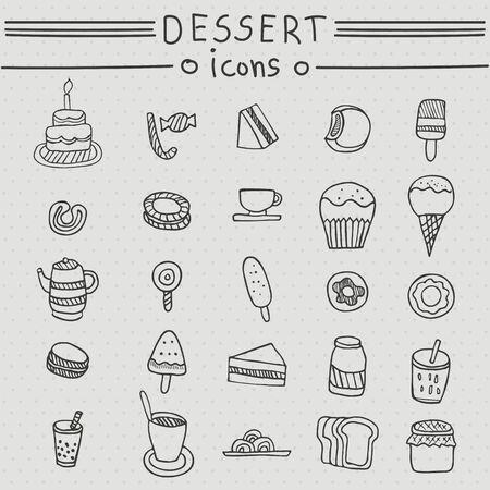 ice cream soft: Dessert icons. Hand drawn set with cakes, candy, desserts, sandwich, ice cream, soft drinks, tea, coffee, donuts, bread, beverage. Illustration