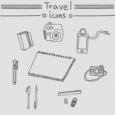 travel phone: Travel icons. Hand drawn set with camera, phone, pen, notebook