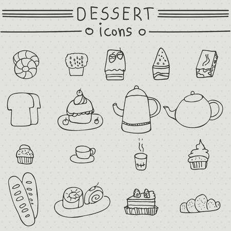 ice tea: Dessert icons. Hand drawn set with cakes, candy, desserts, sandwich, ice cream, soft drinks, tea, coffee, donuts, bread, beverage. Illustration