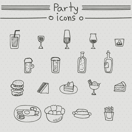 alcoholic drinks: Party icons. Hand drawn set with alcoholic drinks, sandwich, beverage, french fries.
