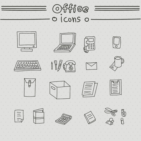 telephone icons: Office icons. Hand drawn set with computer, laptop, telephone, phone, mail, box, coffee. Illustration