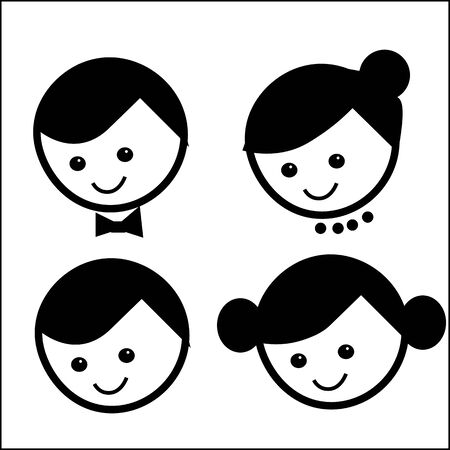 family logo, parents, children, symbol, vector, cartoon