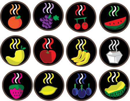 aroma: Mix fruits flavor, aroma, symbol, logo, vector