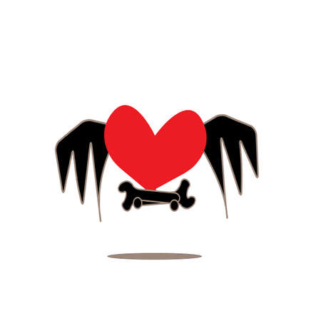 mend: flying fixing heart with wing, symbol, vector