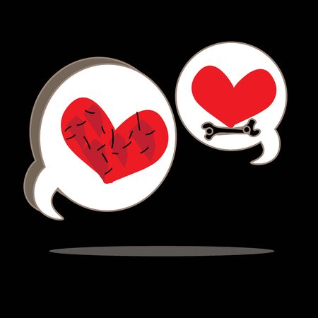fixing: Love chat, fixing heart, vector , logo, black, background