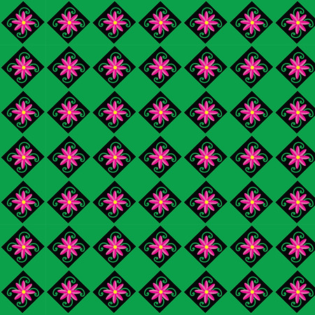 pink and black: pink flower , black square, Green Background, vector, pattern,