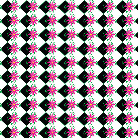 pink and black: Cute pink flower with black tile, stripe, vector, pattern,