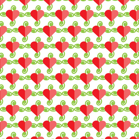 2 tone heart with green spiral, pattern, vector, background,